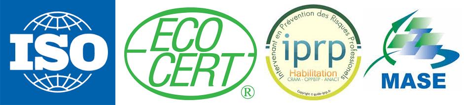 Certifications ISO, Ecocert, IPRP, MASE